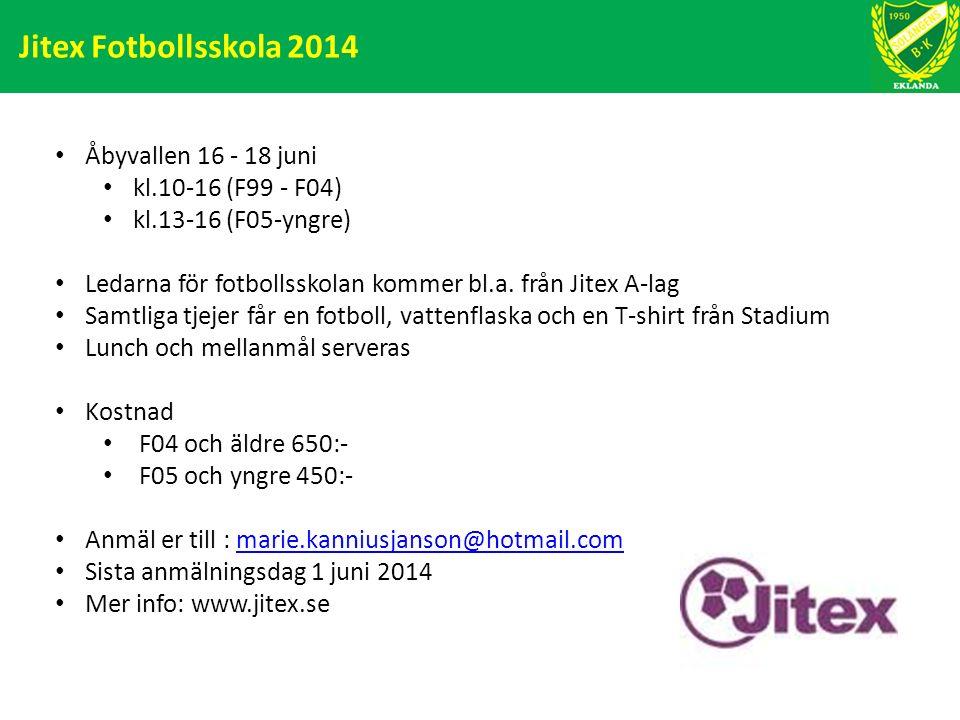 Jitex Fotbollsskola 2014 Åbyvallen 16 - 18 juni kl.10-16 (F99 - F04) kl.13-16 (F05-yngre) Ledarna för fotbollsskolan kommer bl.a. från Jitex A-lag Sam