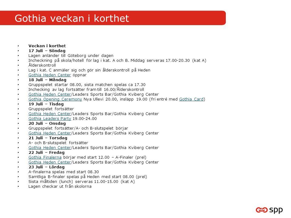 Gothia veckan i korthet Veckan i korthet 17 Juli – Söndag Lagen anländer till Göteborg under dagen Incheckning på skola/hotell för lag i kat.