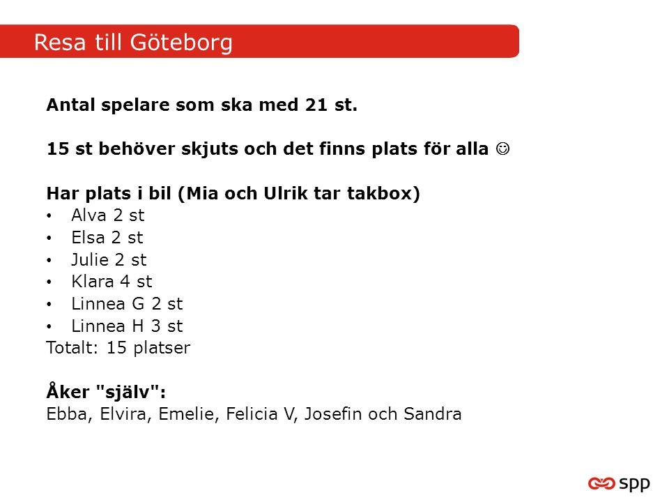 Resa till Göteborg Antal spelare som ska med 21 st.