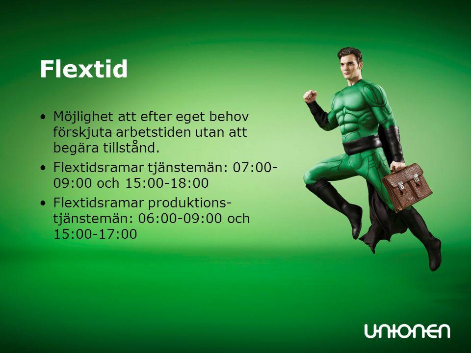 Flextidsregler Flexsaldo maxnivåer: +30 timmar & - 10 timmar vid månadsskiftet Instämpling innan flexstarten och utstämpling efter flexsluten räknas ej som arbetstid Instämpling efter kl 09:00 kan ej dras från flexkontot, likaså utstämpling före 15:00