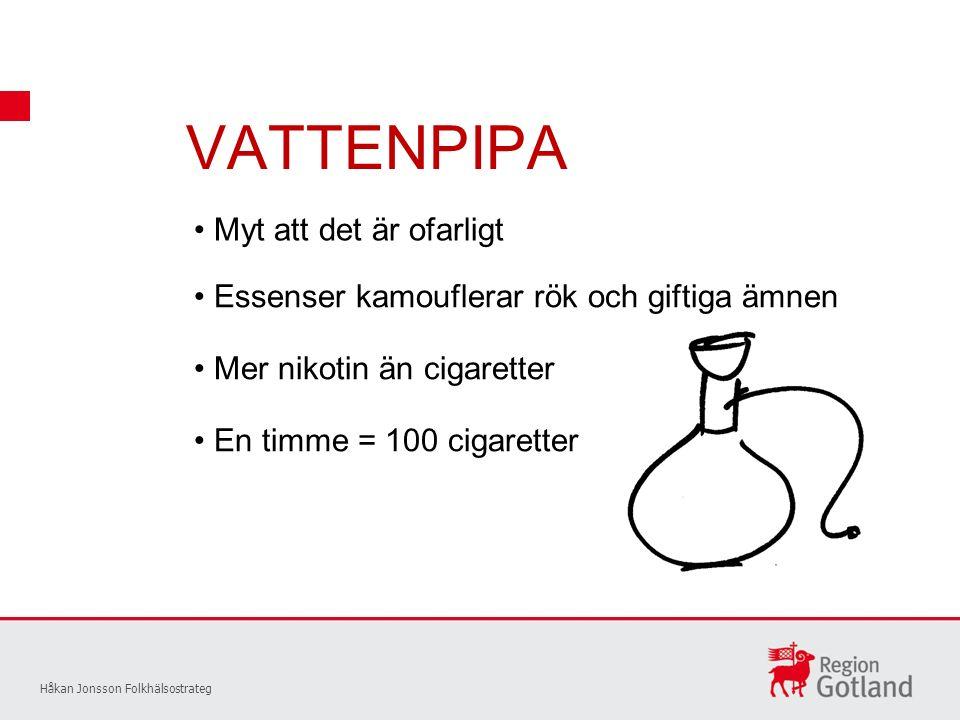 VATTENPIPA Håkan Jonsson Folkhälsostrateg Myt att det är ofarligt Essenser kamouflerar rök och giftiga ämnen Mer nikotin än cigaretter En timme = 100 cigaretter