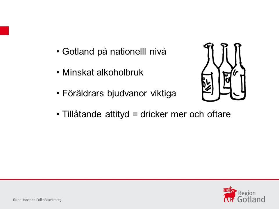 Gotland på nationelll nivå Håkan Jonsson Folkhälsostrateg Minskat alkoholbruk Föräldrars bjudvanor viktiga Tillåtande attityd = dricker mer och oftare