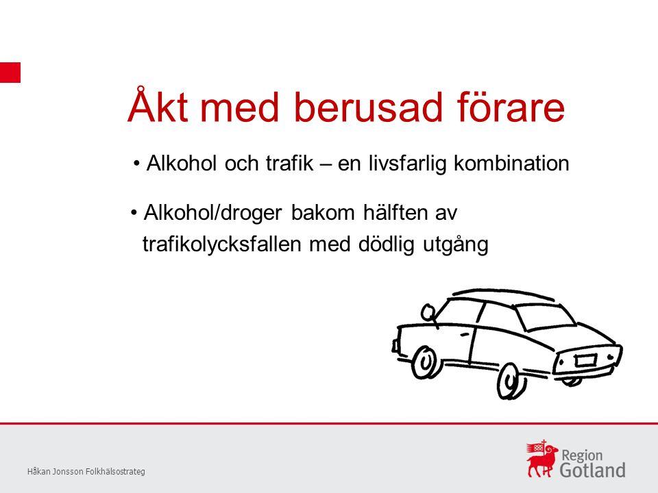 Åkt med berusad förare Håkan Jonsson Folkhälsostrateg Alkohol och trafik – en livsfarlig kombination Alkohol/droger bakom hälften av trafikolycksfallen med dödlig utgång