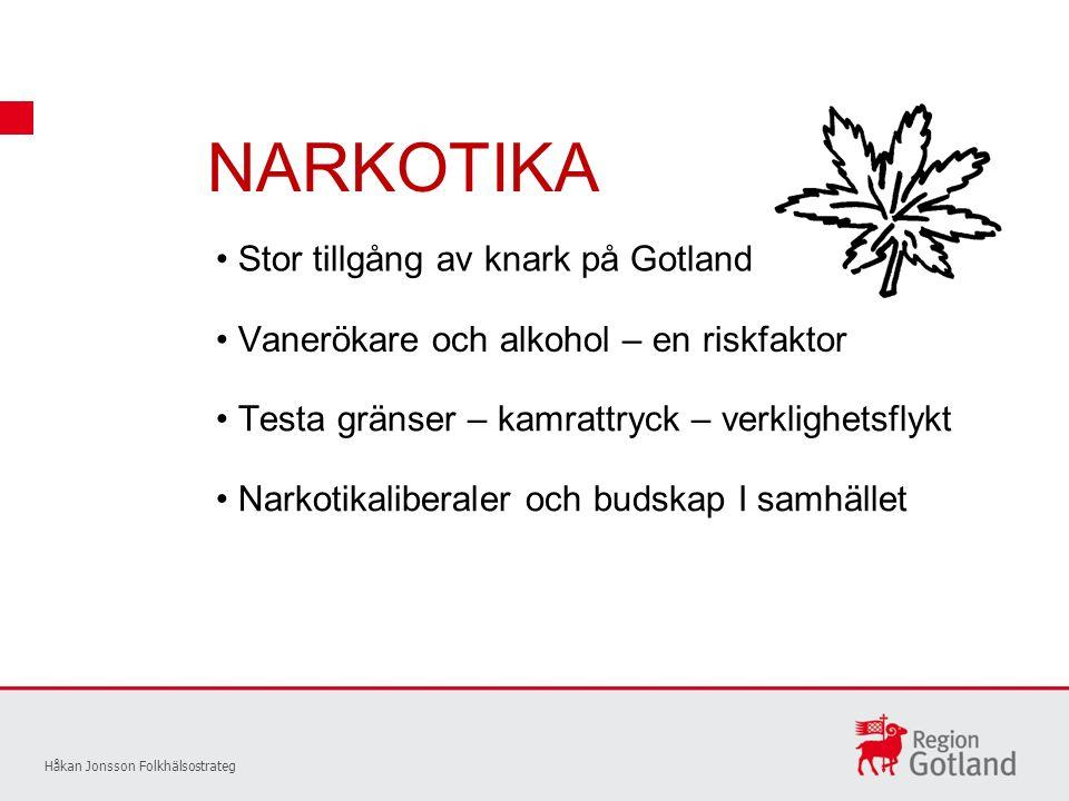 NARKOTIKA Håkan Jonsson Folkhälsostrateg Stor tillgång av knark på Gotland Vanerökare och alkohol – en riskfaktor Testa gränser – kamrattryck – verklighetsflykt Narkotikaliberaler och budskap I samhället