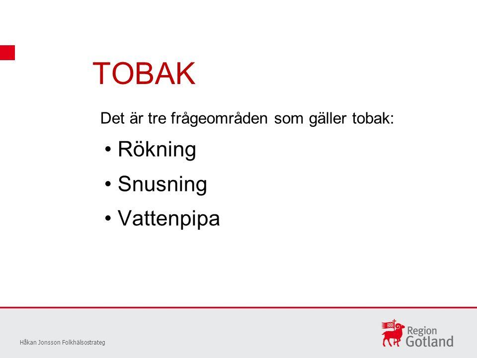TOBAK Rökning Snusning Vattenpipa Håkan Jonsson Folkhälsostrateg Det är tre frågeområden som gäller tobak: