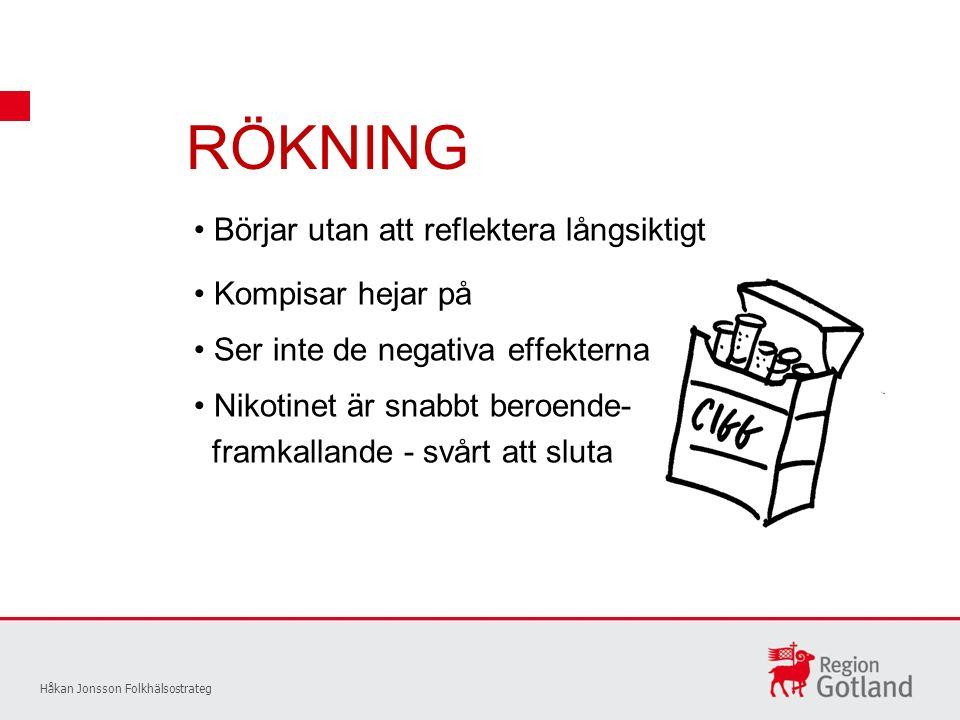 RÖKNING Håkan Jonsson Folkhälsostrateg Börjar utan att reflektera långsiktigt Kompisar hejar på Ser inte de negativa effekterna Nikotinet är snabbt beroende- framkallande - svårt att sluta