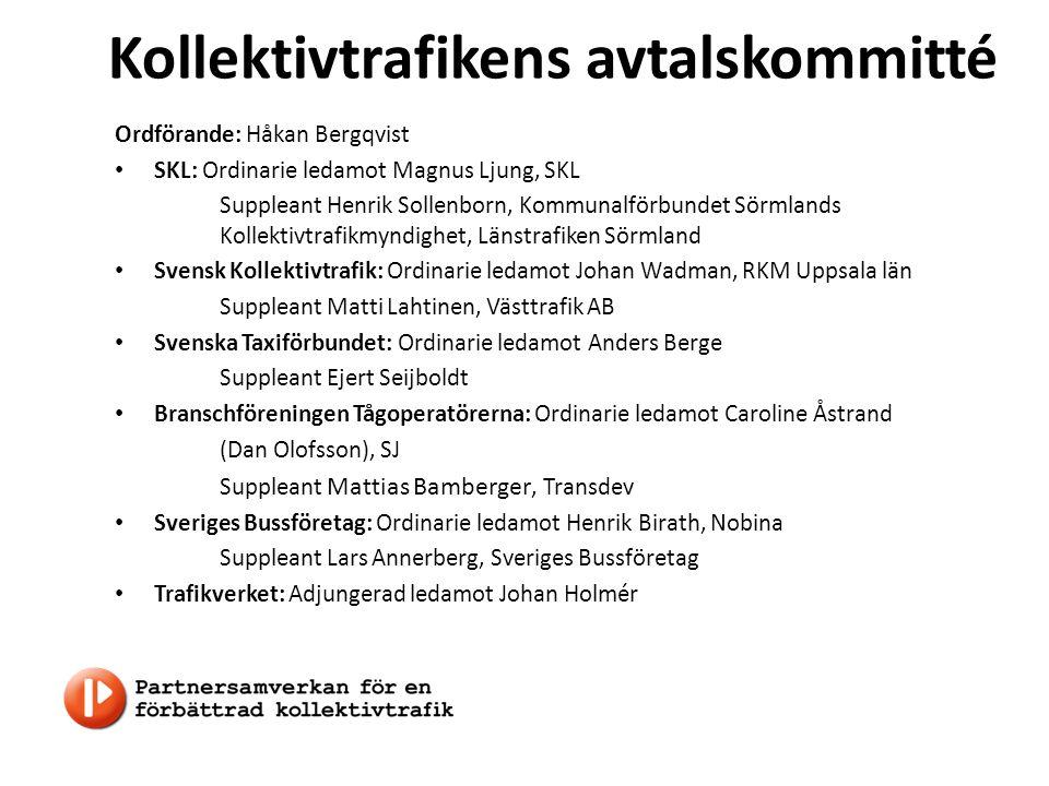 Kollektivtrafikens avtalskommitté Ordförande: Håkan Bergqvist SKL: Ordinarie ledamot Magnus Ljung, SKL Suppleant Henrik Sollenborn, Kommunalförbundet