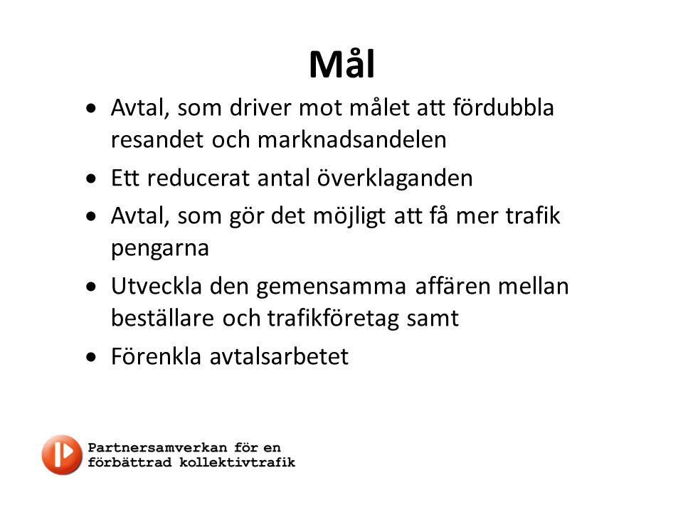 Mål  Avtal, som driver mot målet att fördubbla resandet och marknadsandelen  Ett reducerat antal överklaganden  Avtal, som gör det möjligt att få mer trafik pengarna  Utveckla den gemensamma affären mellan beställare och trafikföretag samt  Förenkla avtalsarbetet