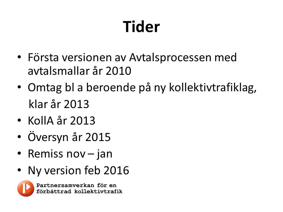 Tider Första versionen av Avtalsprocessen med avtalsmallar år 2010 Omtag bl a beroende på ny kollektivtrafiklag, klar år 2013 KollA år 2013 Översyn år