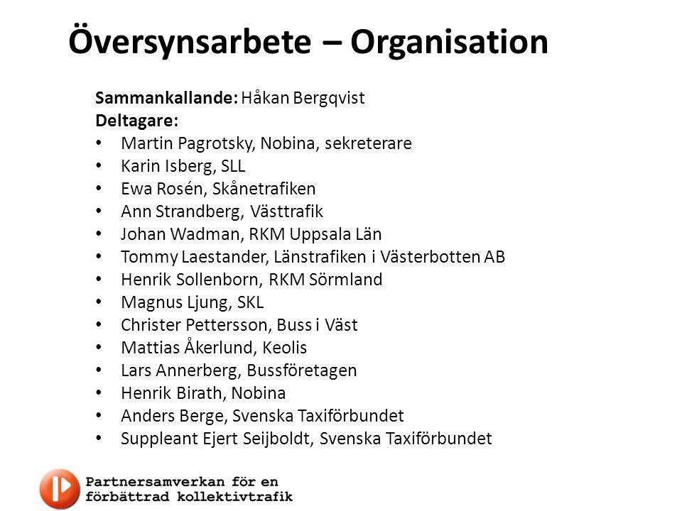 Översynsarbete – Organisation Sammankallande: Håkan Bergqvist Deltagare: Martin Pagrotsky, Nobina, sekreterare Karin Isberg, SLL Ewa Rosén, Skånetrafi