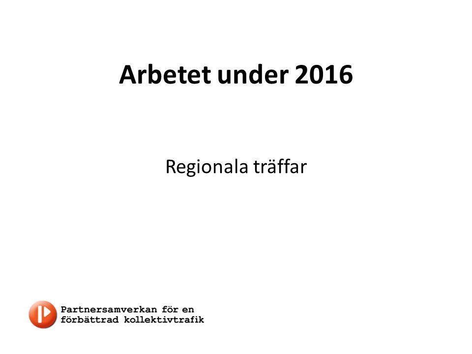 Arbetet under 2016 Regionala träffar