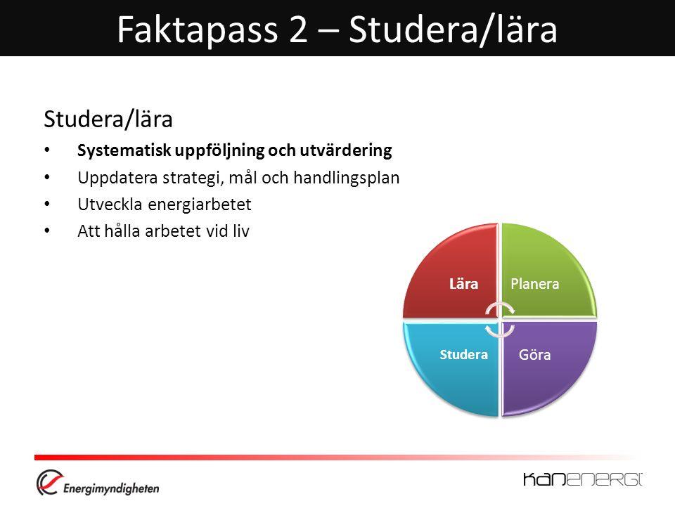 Faktapass 2 – Studera/lära Studera/lära Systematisk uppföljning och utvärdering Uppdatera strategi, mål och handlingsplan Utveckla energiarbetet Att h