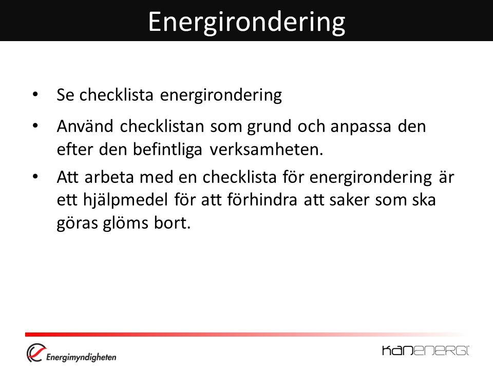 Energirondering Se checklista energirondering Använd checklistan som grund och anpassa den efter den befintliga verksamheten. Att arbeta med en checkl