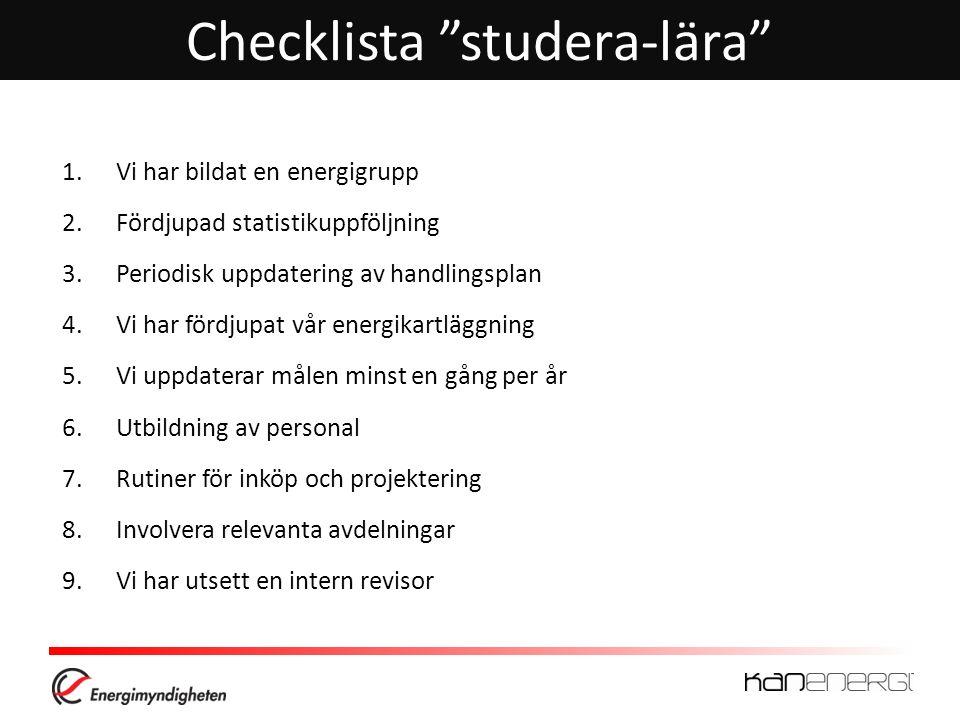 """Checklista """"studera-lära"""" 1.Vi har bildat en energigrupp 2.Fördjupad statistikuppföljning 3.Periodisk uppdatering av handlingsplan 4.Vi har fördjupat"""