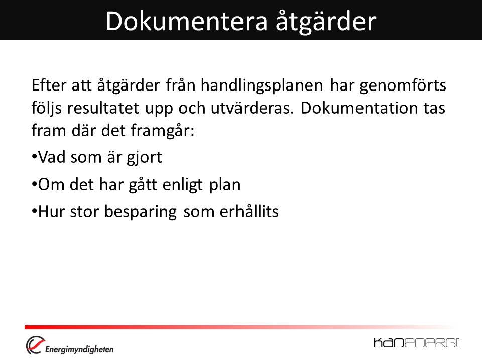 Dokumentera åtgärder Efter att åtgärder från handlingsplanen har genomförts följs resultatet upp och utvärderas. Dokumentation tas fram där det framgå