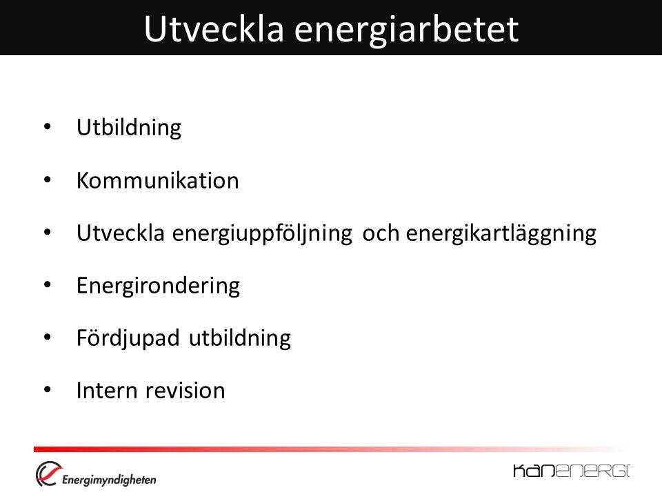Utveckla energiarbetet Utbildning Kommunikation Utveckla energiuppföljning och energikartläggning Energirondering Fördjupad utbildning Intern revision