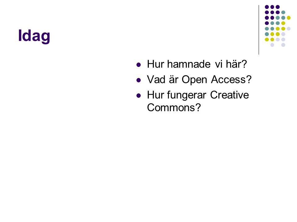 Idag Hur hamnade vi här Vad är Open Access Hur fungerar Creative Commons