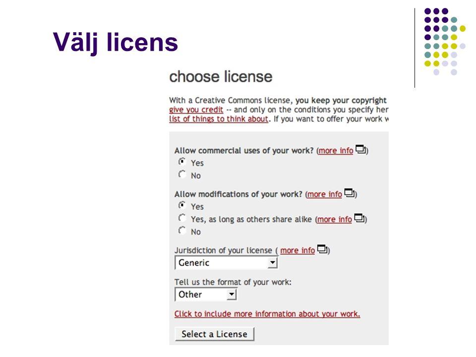 Välj licens