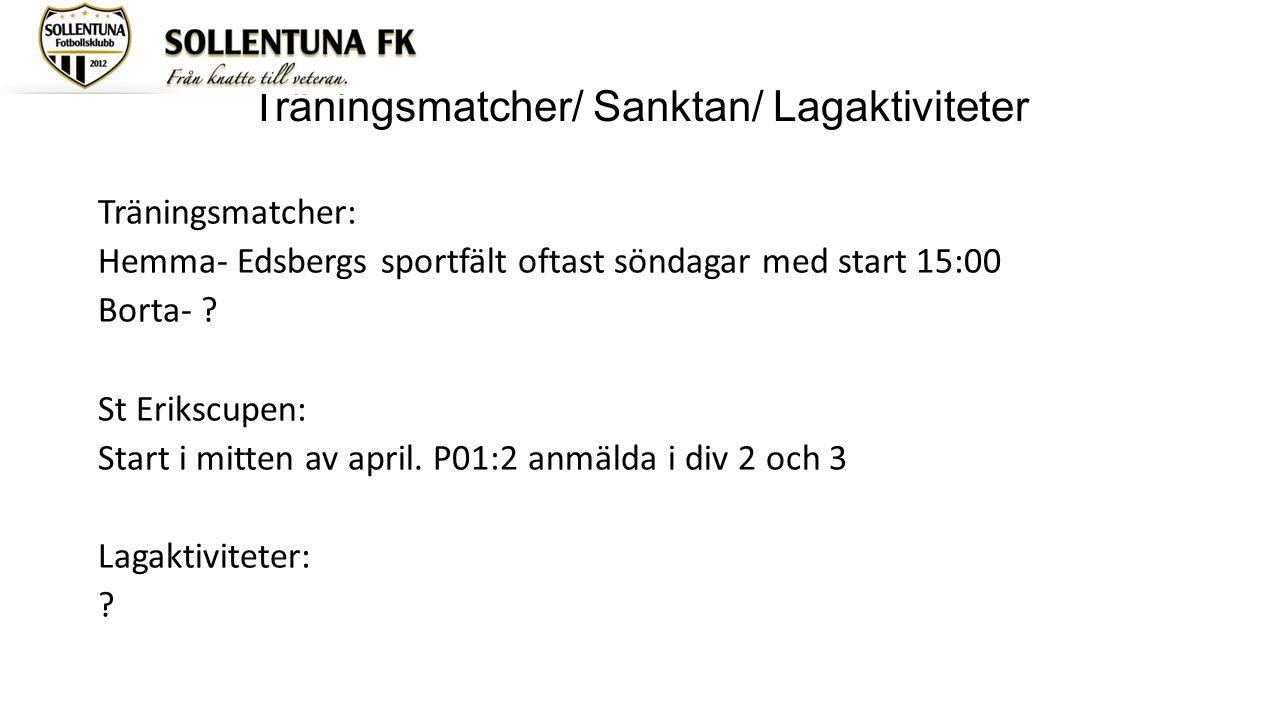 Träningsmatcher/ Sanktan/ Lagaktiviteter Träningsmatcher: Hemma- Edsbergs sportfält oftast söndagar med start 15:00 Borta- ? St Erikscupen: Start i mi