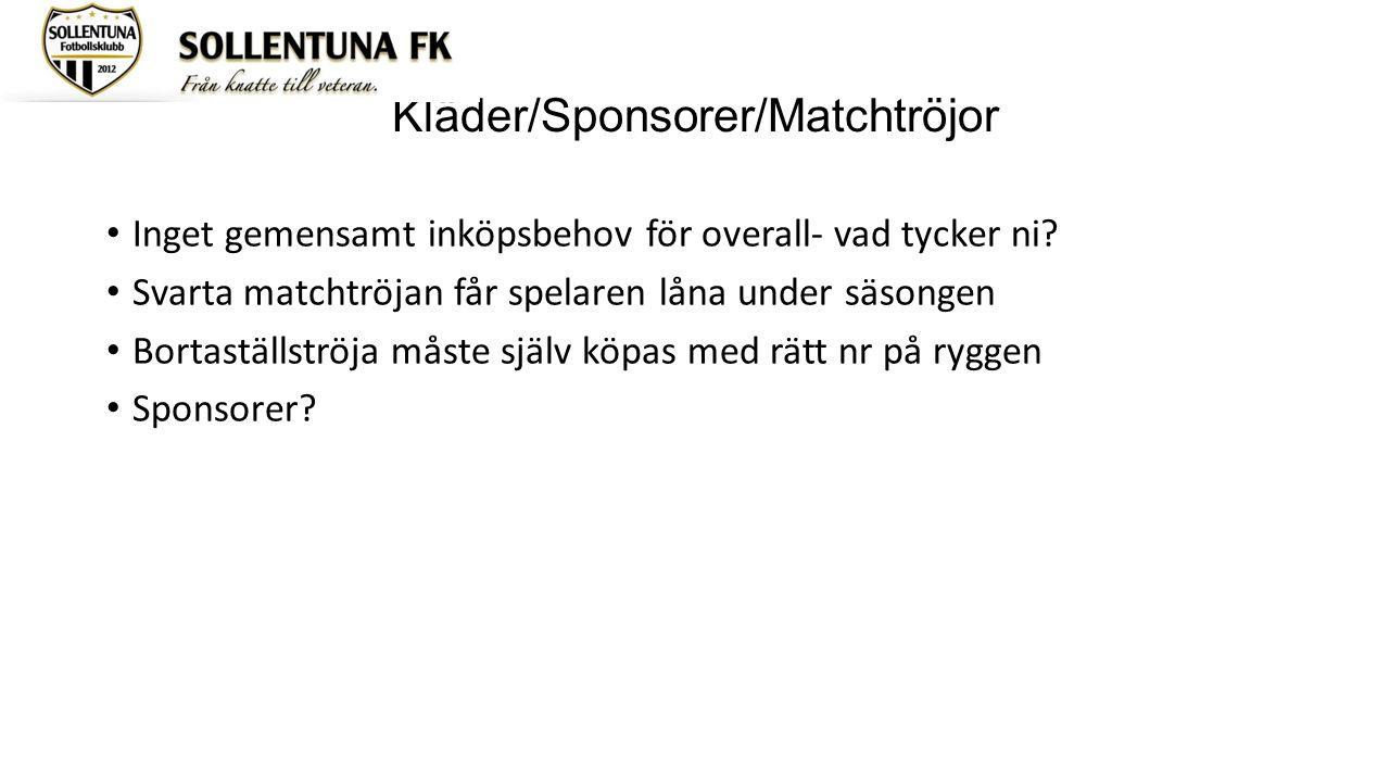 Kläder/Sponsorer/Matchtröjor Inget gemensamt inköpsbehov för overall- vad tycker ni? Svarta matchtröjan får spelaren låna under säsongen Bortaställstr