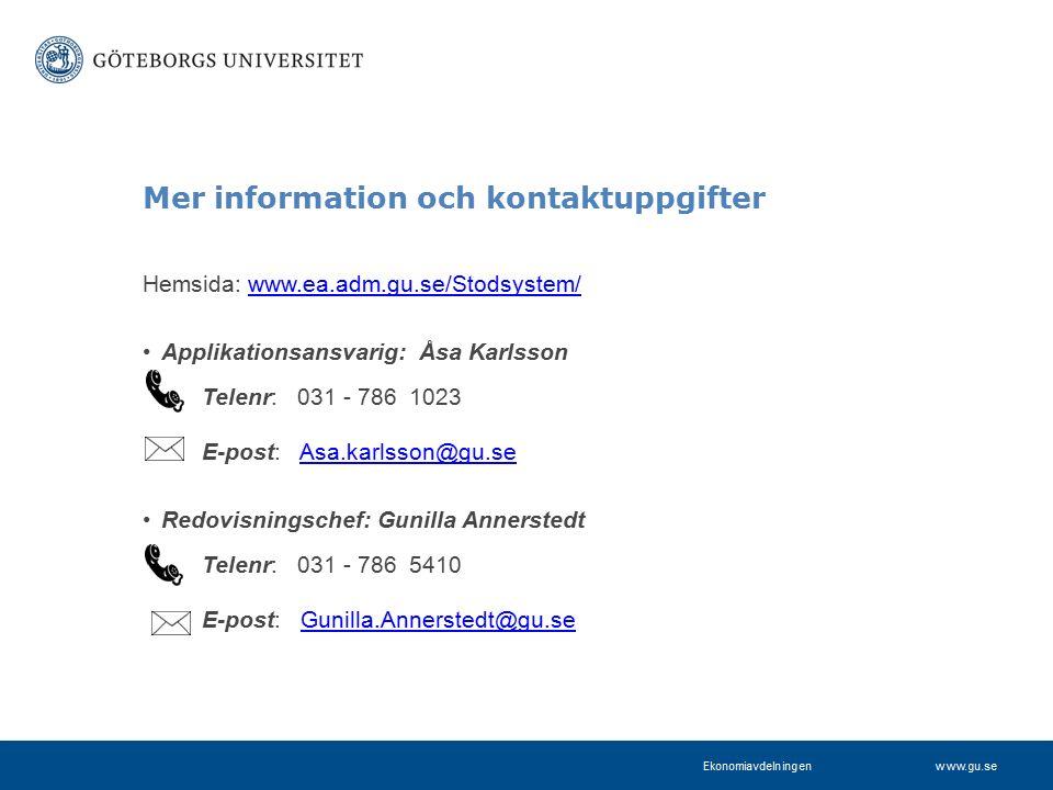 www.projektkontoret.adm.gu.se Mer information och kontaktuppgifter Hemsida: www.ea.adm.gu.se/Stodsystem/www.ea.adm.gu.se/Stodsystem/ Applikationsansvarig: Åsa Karlsson Telenr: 031 - 786 1023 E-post: Asa.karlsson@gu.seAsa.karlsson@gu.se Redovisningschef: Gunilla Annerstedt Telenr: 031 - 786 5410 E-post: Gunilla.Annerstedt@gu.seGunilla.Annerstedt@gu.se