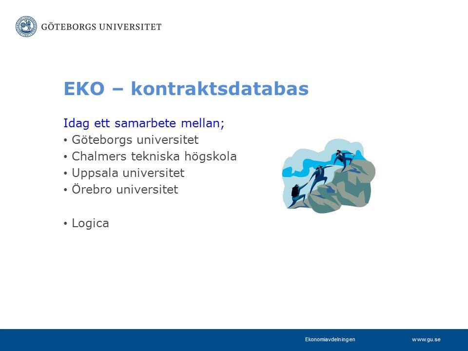 www.gu.se EKO – kontraktsdatabas Idag ett samarbete mellan; Göteborgs universitet Chalmers tekniska högskola Uppsala universitet Örebro universitet Logica