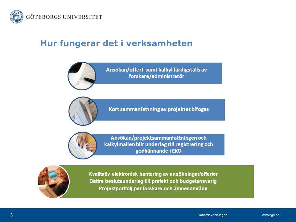 www.projektkontoret.adm.gu.se Hur fungerar det i verksamheten 8 Ansökan/offert samt kalkyl färdigställs av forskare/administratör Kort sammanfattning