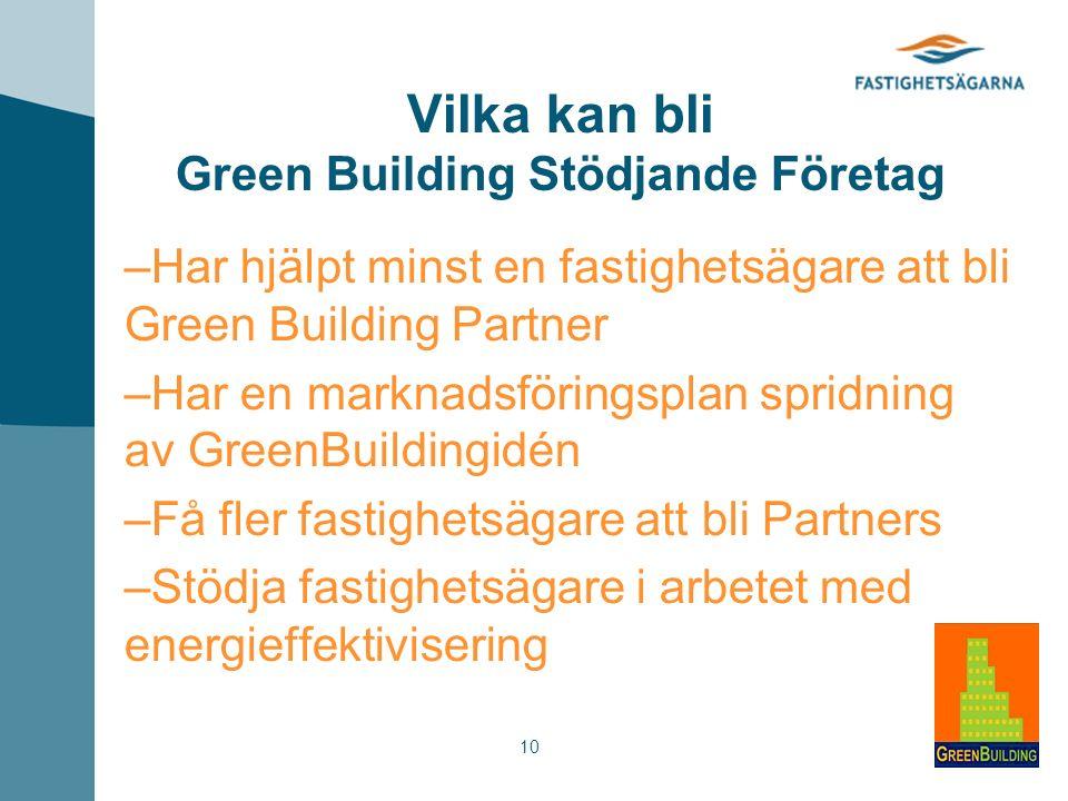 10 Vilka kan bli Green Building Stödjande Företag – Har hjälpt minst en fastighetsägare att bli Green Building Partner – Har en marknadsföringsplan spridning av GreenBuildingidén – Få fler fastighetsägare att bli Partners – Stödja fastighetsägare i arbetet med energieffektivisering