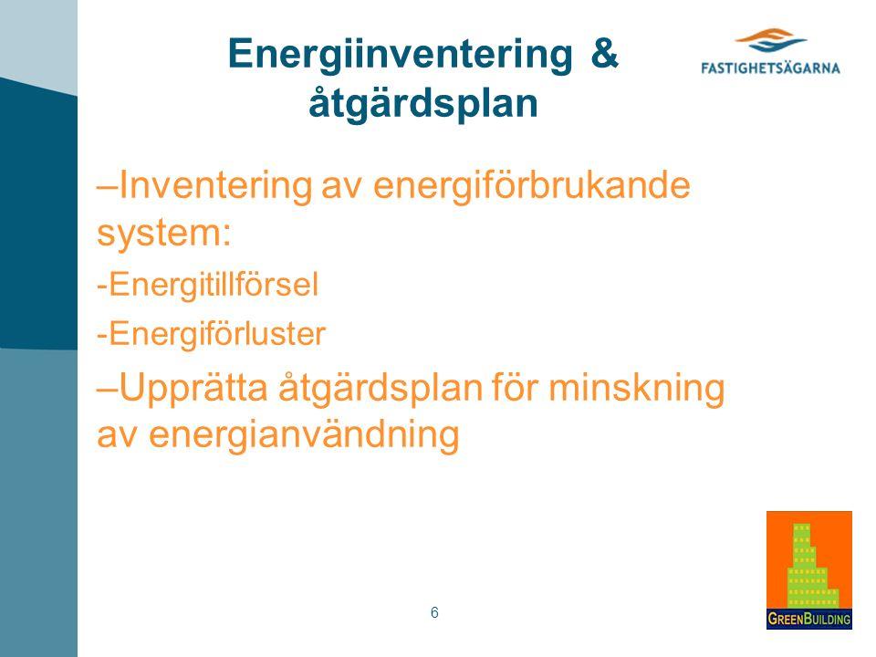 6 Energiinventering & åtgärdsplan – Inventering av energiförbrukande system: - Energitillförsel - Energiförluster – Upprätta åtgärdsplan för minskning av energianvändning