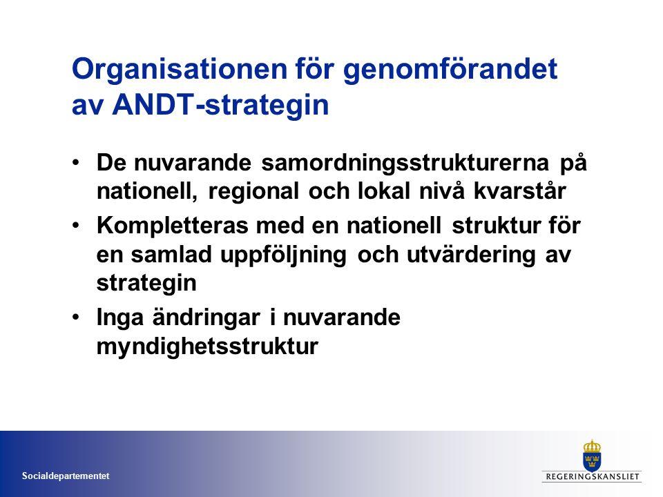 Socialdepartementet Organisationen för genomförandet av ANDT-strategin De nuvarande samordningsstrukturerna på nationell, regional och lokal nivå kvarstår Kompletteras med en nationell struktur för en samlad uppföljning och utvärdering av strategin Inga ändringar i nuvarande myndighetsstruktur