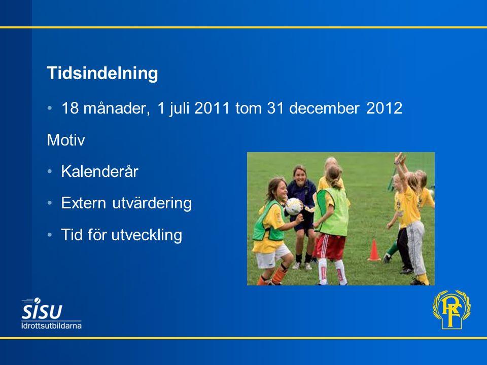 Tidsindelning 18 månader, 1 juli 2011 tom 31 december 2012 Motiv Kalenderår Extern utvärdering Tid för utveckling