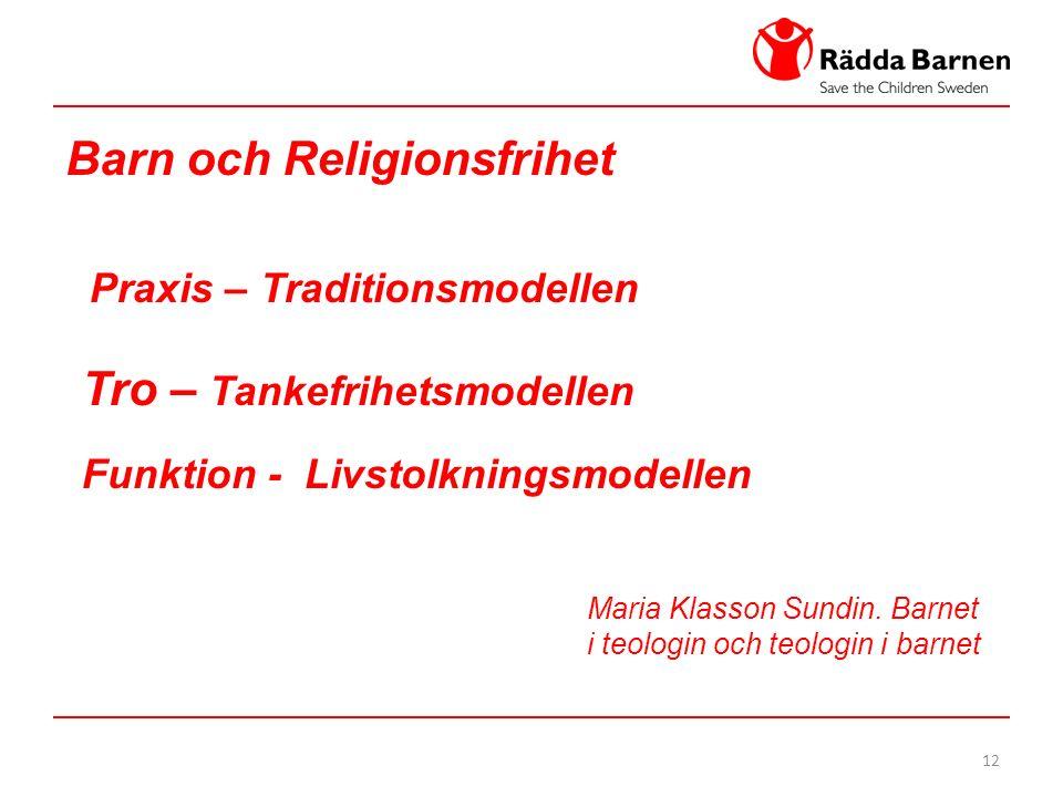 12 Barn och Religionsfrihet Praxis – Traditionsmodellen Tro – Tankefrihetsmodellen Funktion - Livstolkningsmodellen Maria Klasson Sundin.