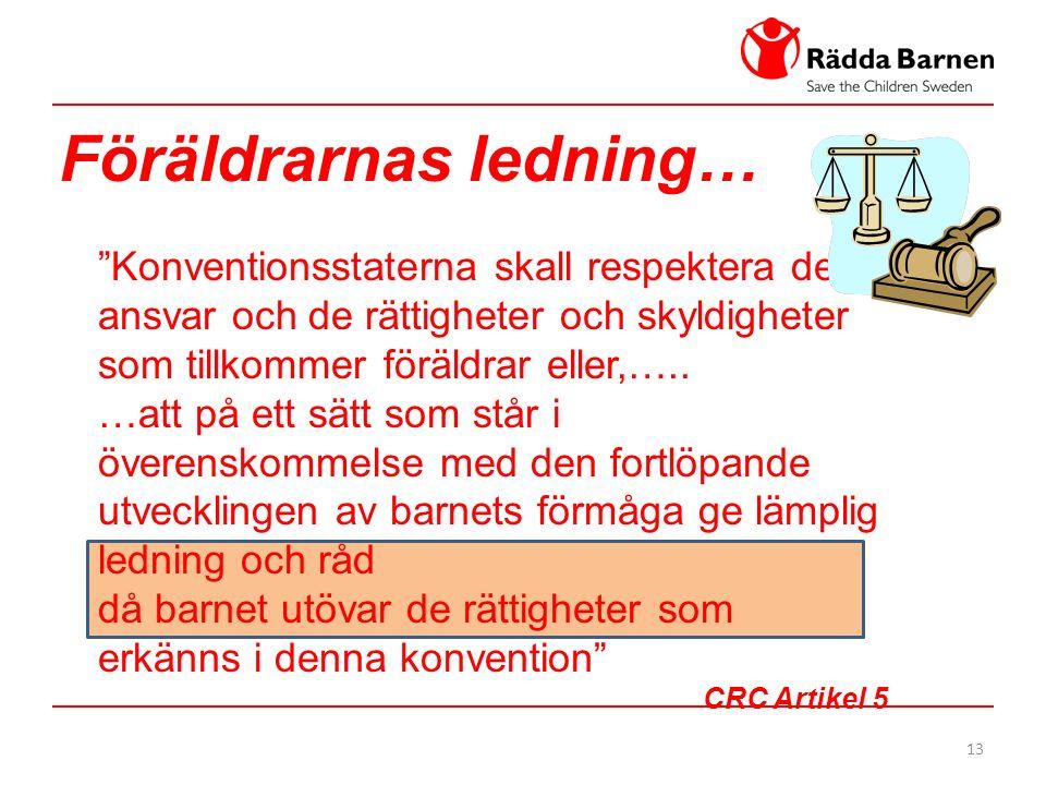 13 Föräldrarnas ledning… Konventionsstaterna skall respektera det ansvar och de rättigheter och skyldigheter som tillkommer föräldrar eller,…..
