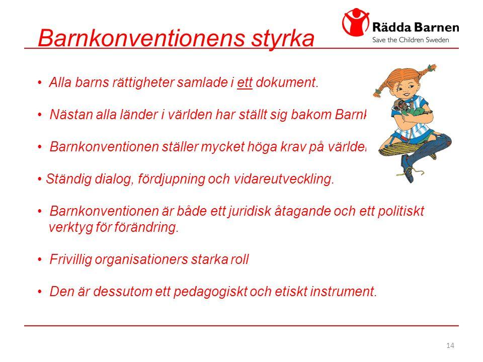 14 Barnkonventionens styrka Alla barns rättigheter samlade i ett dokument.
