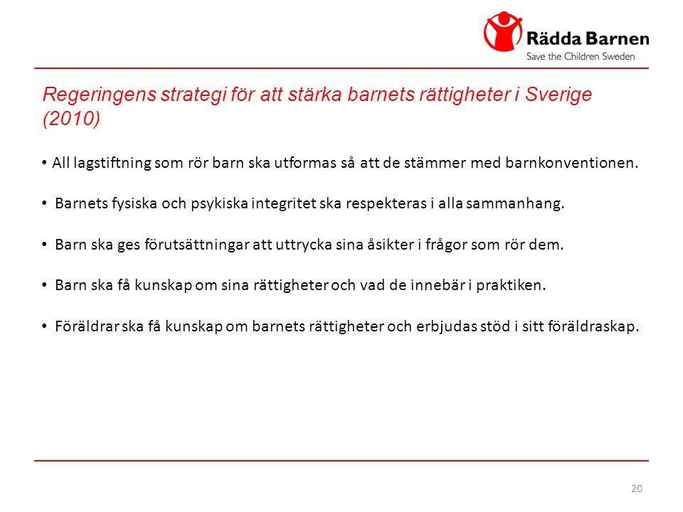 20 Regeringens strategi för att stärka barnets rättigheter i Sverige (2010) All lagstiftning som rör barn ska utformas så att de stämmer med barnkonventionen.