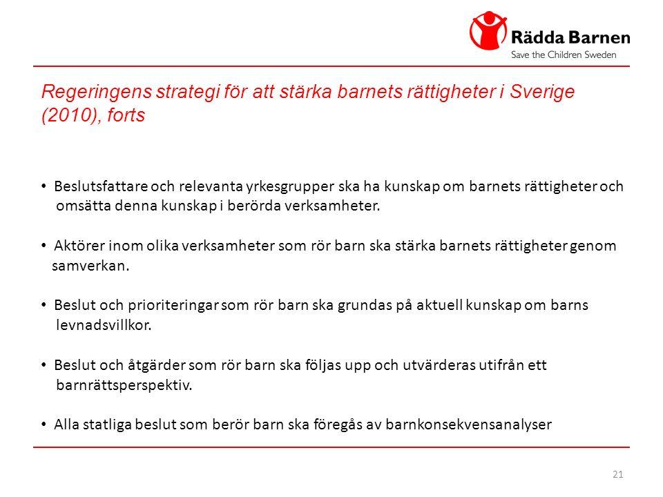 21 Regeringens strategi för att stärka barnets rättigheter i Sverige (2010), forts Beslutsfattare och relevanta yrkesgrupper ska ha kunskap om barnets rättigheter och omsätta denna kunskap i berörda verksamheter.