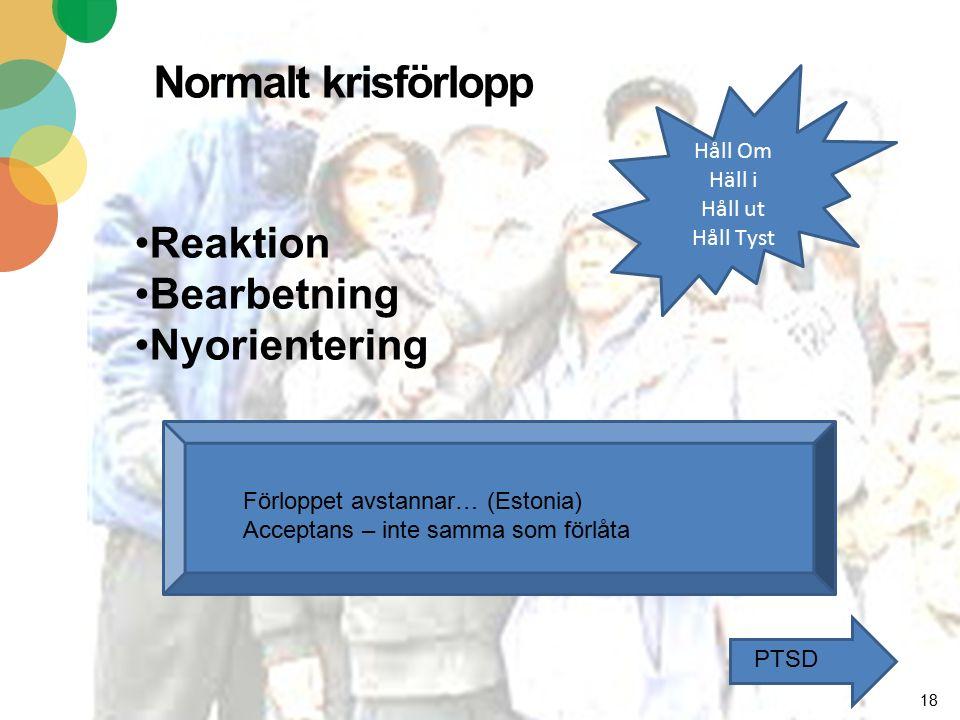 Normalt krisförlopp 18 Reaktion Bearbetning Nyorientering Förloppet avstannar… (Estonia) Acceptans – inte samma som förlåta PTSD Håll Om Häll i Håll ut Håll Tyst
