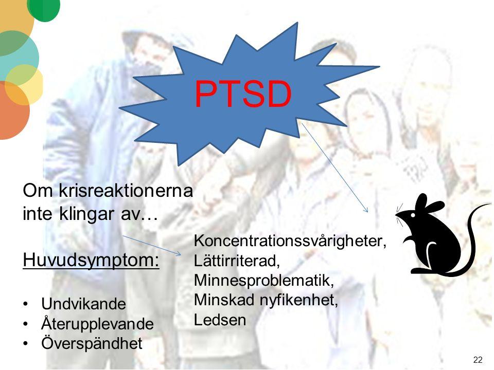 22 Om krisreaktionerna inte klingar av… Huvudsymptom: Undvikande Återupplevande Överspändhet Koncentrationssvårigheter, Lättirriterad, Minnesproblematik, Minskad nyfikenhet, Ledsen PTSD