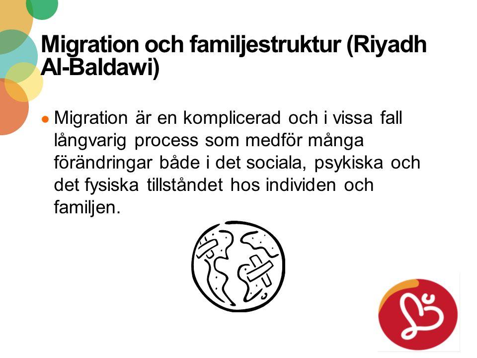 2016-09-21 27 Migration och familjestruktur (Riyadh Al-Baldawi) ● Migration är en komplicerad och i vissa fall långvarig process som medför många förändringar både i det sociala, psykiska och det fysiska tillståndet hos individen och familjen.
