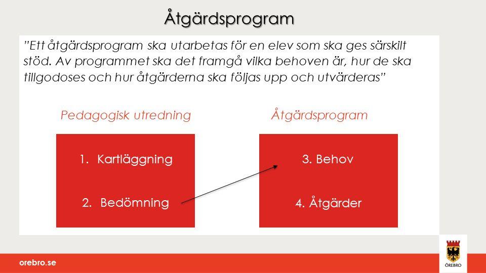 """orebro.se Åtgärdsprogram """"Ett åtgärdsprogram ska utarbetas för en elev som ska ges särskilt stöd. Av programmet ska det framgå vilka behoven är, hur d"""