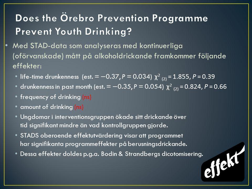Med STAD-data som analyseras med kontinuerliga (oförvanskade) mått på alkoholdrickande framkommer följande effekter: life-time drunkenness (est.