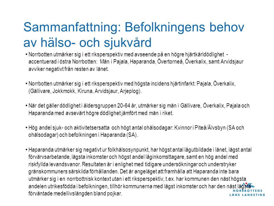 Sammanfattning: Befolkningens behov av hälso- och sjukvård Norrbotten utmärker sig i ett riksperspektiv med avseende på en högre hjärtkärldödlighet -