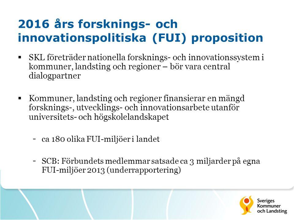 2016 års forsknings- och innovationspolitiska (FUI) proposition  SKL företräder nationella forsknings- och innovationssystem i kommuner, landsting oc