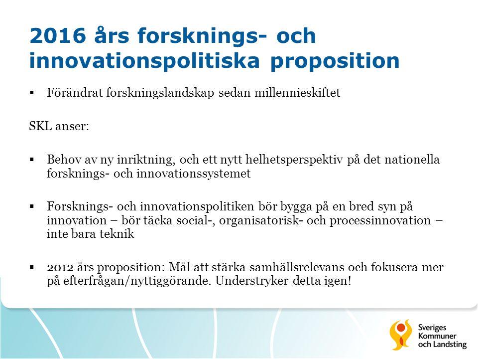 2016 års forsknings- och innovationspolitiska proposition  Förändrat forskningslandskap sedan millennieskiftet SKL anser:  Behov av ny inriktning, o