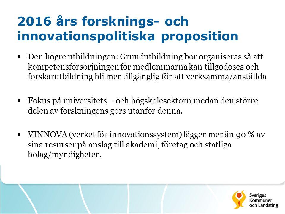 2016 års forsknings- och innovationspolitiska proposition  Frågor till 2016 års forkningsprop:  Nationellt program för utveckling av evidensbaserad socialtjänst (var med i 2012 års proposition) - Utmaning möta krav på evidensbaserat arbete i socialtjänsten.