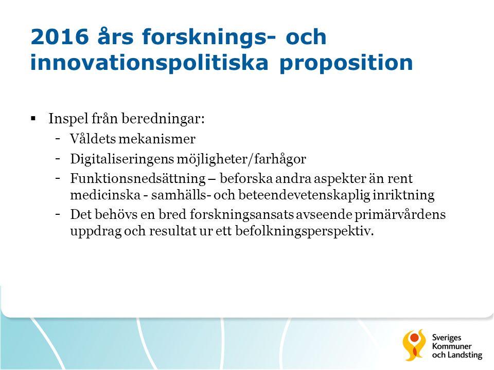 2016 års forsknings- och innovationspolitiska proposition  Inspel från beredningar: - Våldets mekanismer - Digitaliseringens möjligheter/farhågor - F