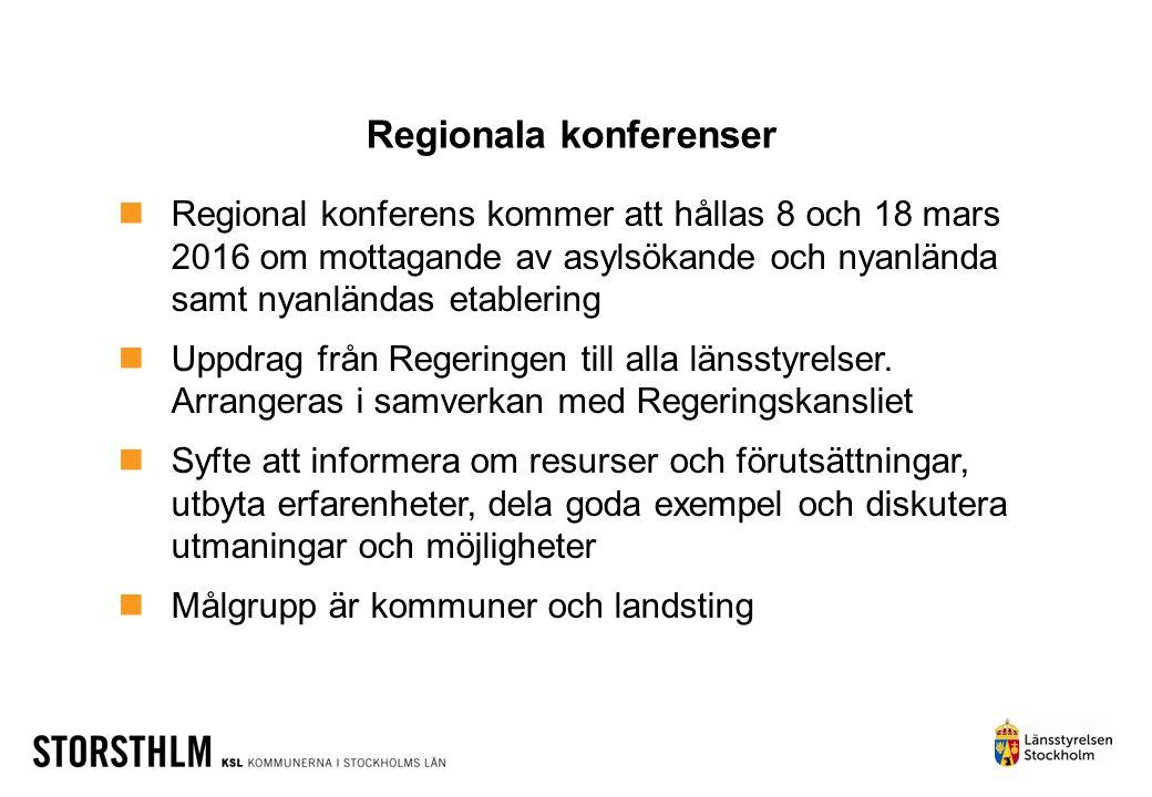 Regionala konferenser Regional konferens kommer att hållas 8 och 18 mars 2016 om mottagande av asylsökande och nyanlända samt nyanländas etablering Up