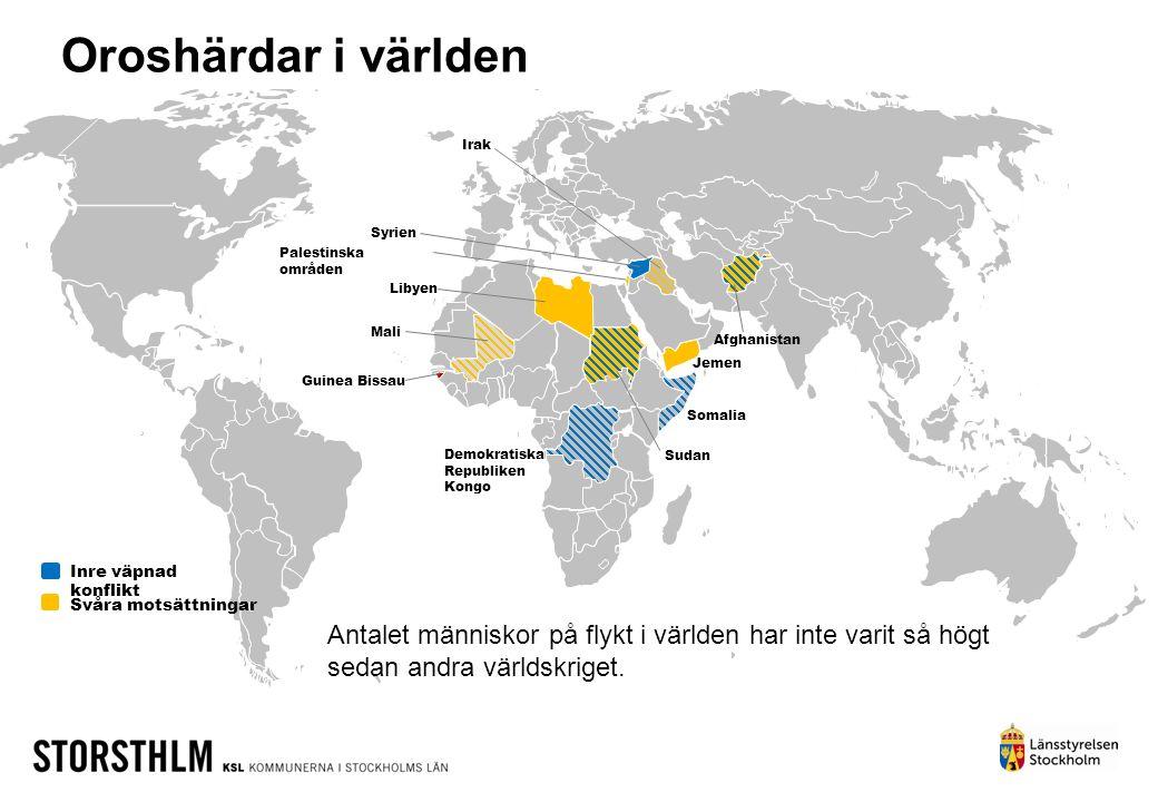 Inre väpnad konflikt Svåra motsättningar Libyen Demokratiska Republiken Kongo Jemen Afghanistan Palestinska områden Syrien Irak Mali Somalia Sudan Oro