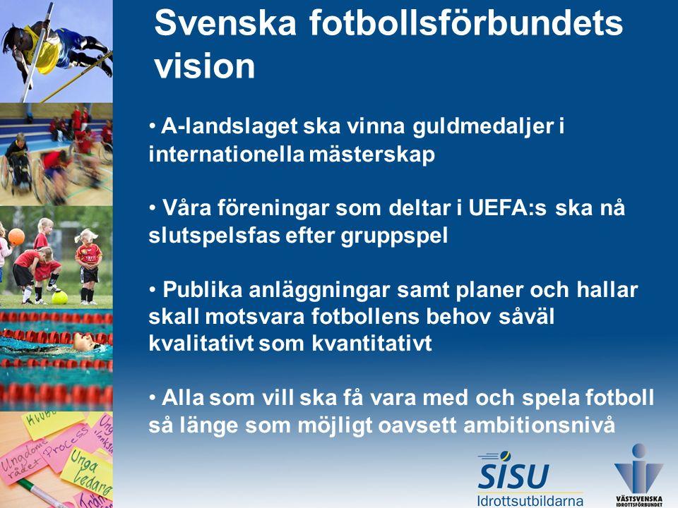 Svenska fotbollsförbundets vision A-landslaget ska vinna guldmedaljer i internationella mästerskap Våra föreningar som deltar i UEFA:s ska nå slutspelsfas efter gruppspel Publika anläggningar samt planer och hallar skall motsvara fotbollens behov såväl kvalitativt som kvantitativt Alla som vill ska få vara med och spela fotboll så länge som möjligt oavsett ambitionsnivå