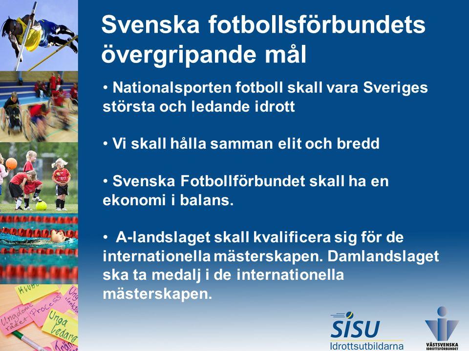 Svenska fotbollsförbundets övergripande mål Nationalsporten fotboll skall vara Sveriges största och ledande idrott Vi skall hålla samman elit och bredd Svenska Fotbollförbundet skall ha en ekonomi i balans.